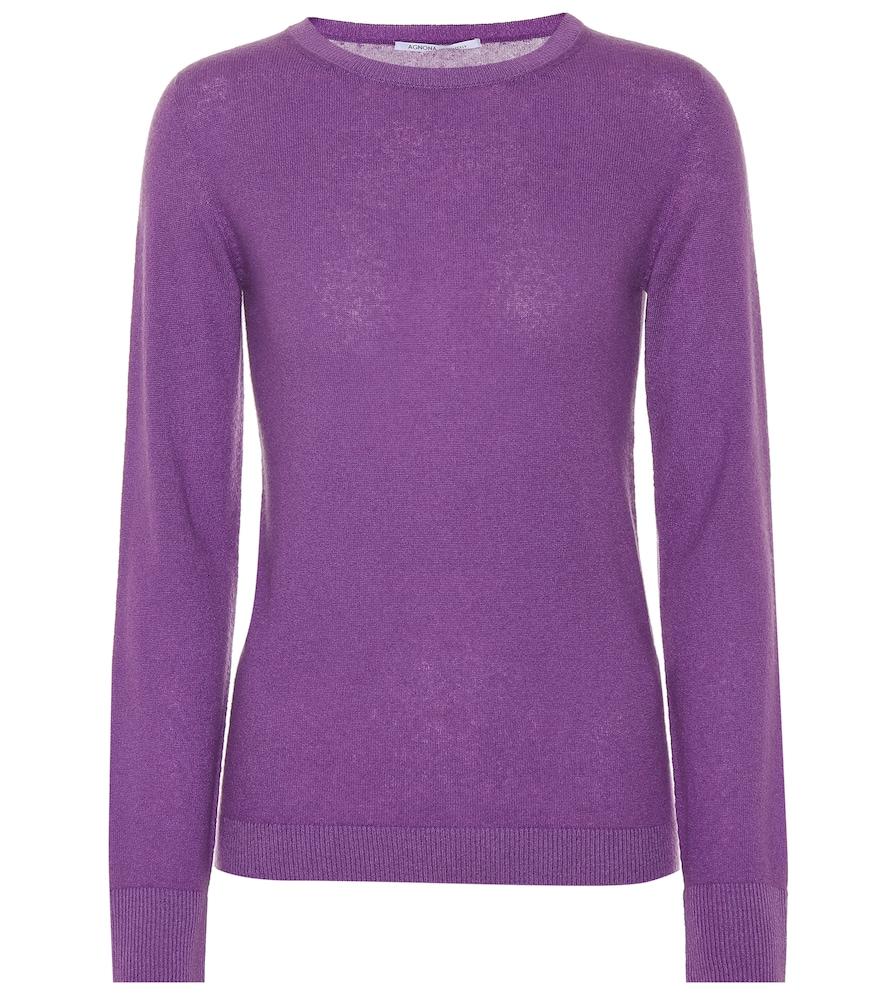 AGNONA Crewneck Long-Sleeve Cashmere-Blend Sweater in Purple