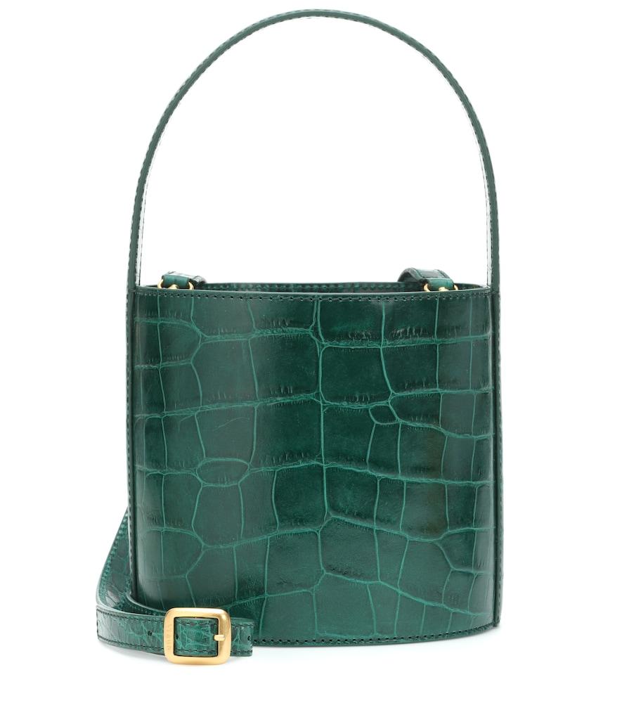 Bissett Embossed Leather Bucket Bag in Green