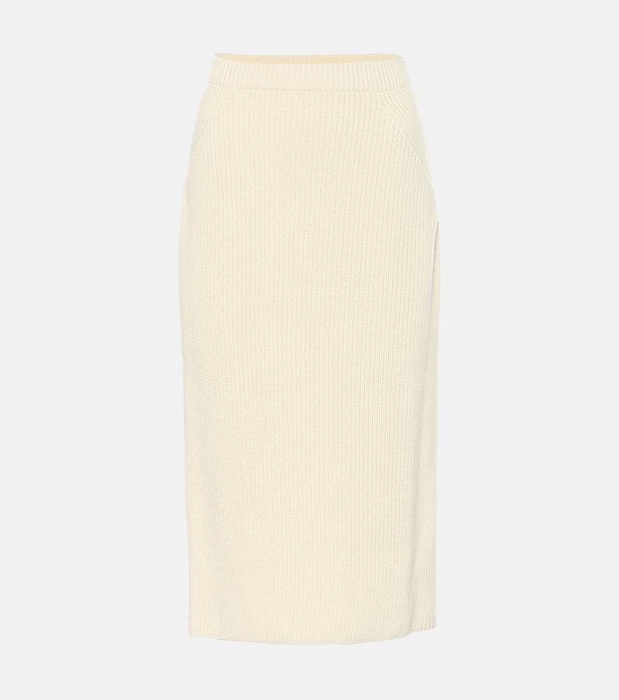 Lexington ribbed-knit cashmere midi skirt