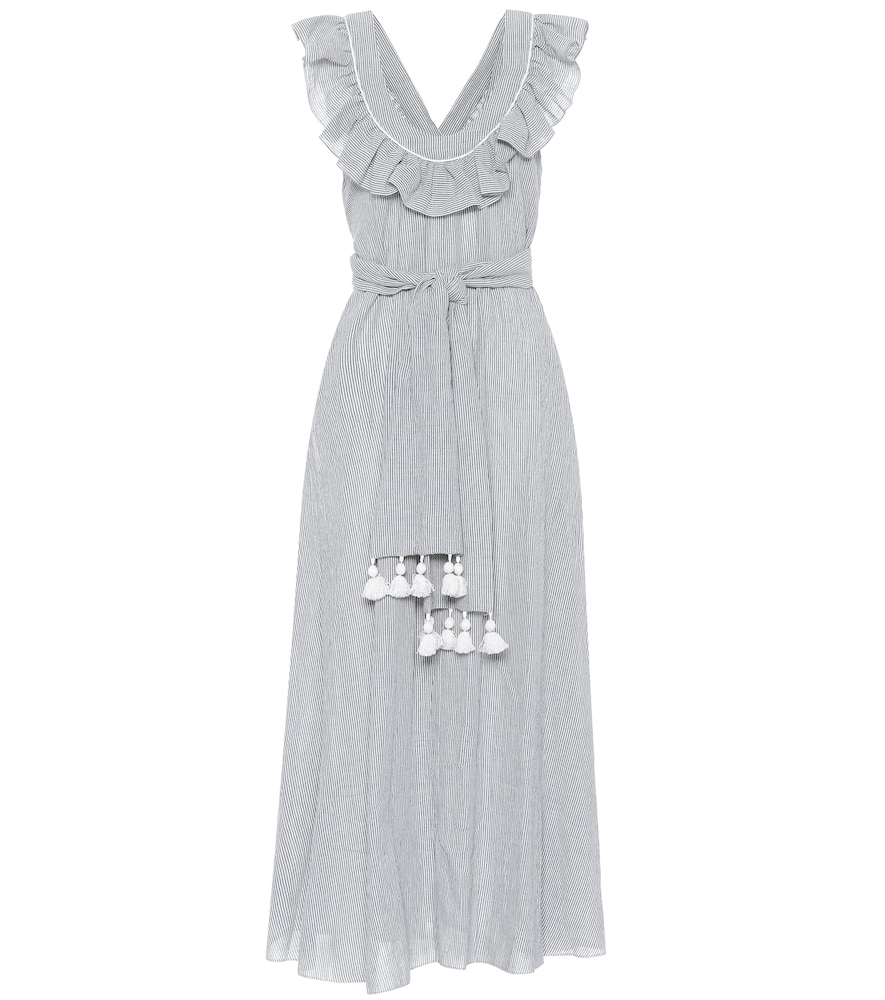 THREE GRACES LONDON Geraldine Cotton-Blend Maxi Dress in Blue
