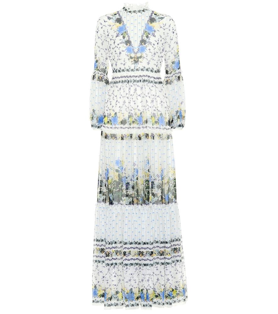 Cassandra Tiered Silk-Chiffon Gown, White