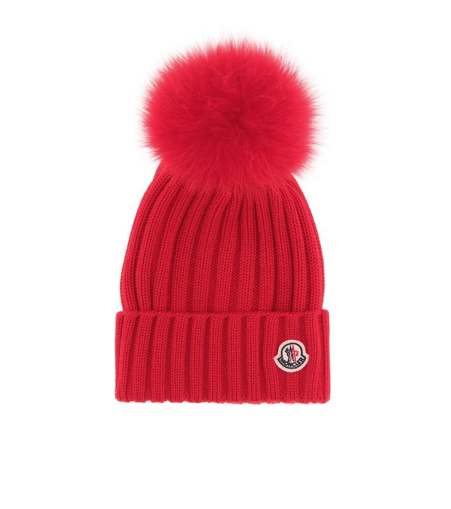 Genuine Fox Fur Pom Wool Beanie - Red in Female