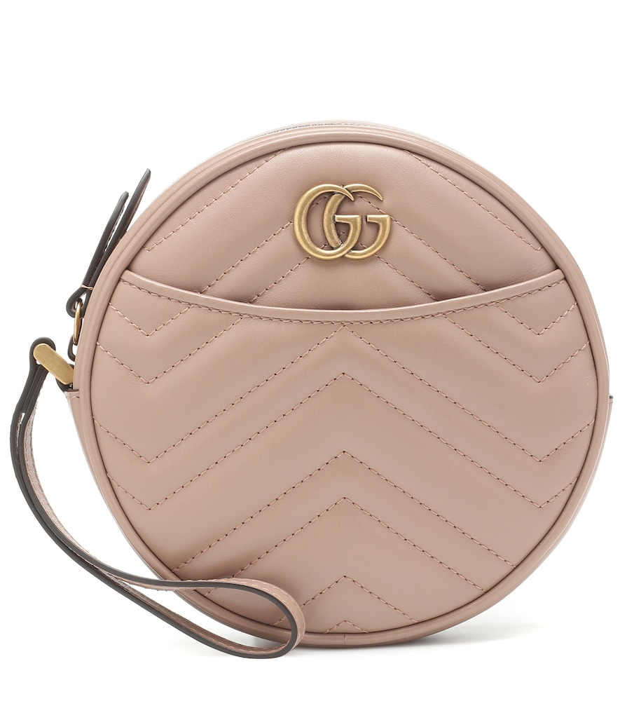 Gucci Gg Marmont Small Leather Clutch In Pink