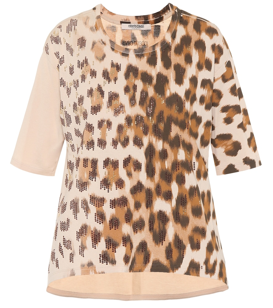 Embellished leopard cotton T-shirt