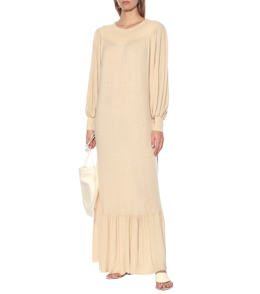 Off-the-shoulder cashmere maxi dress by Ryan Roche