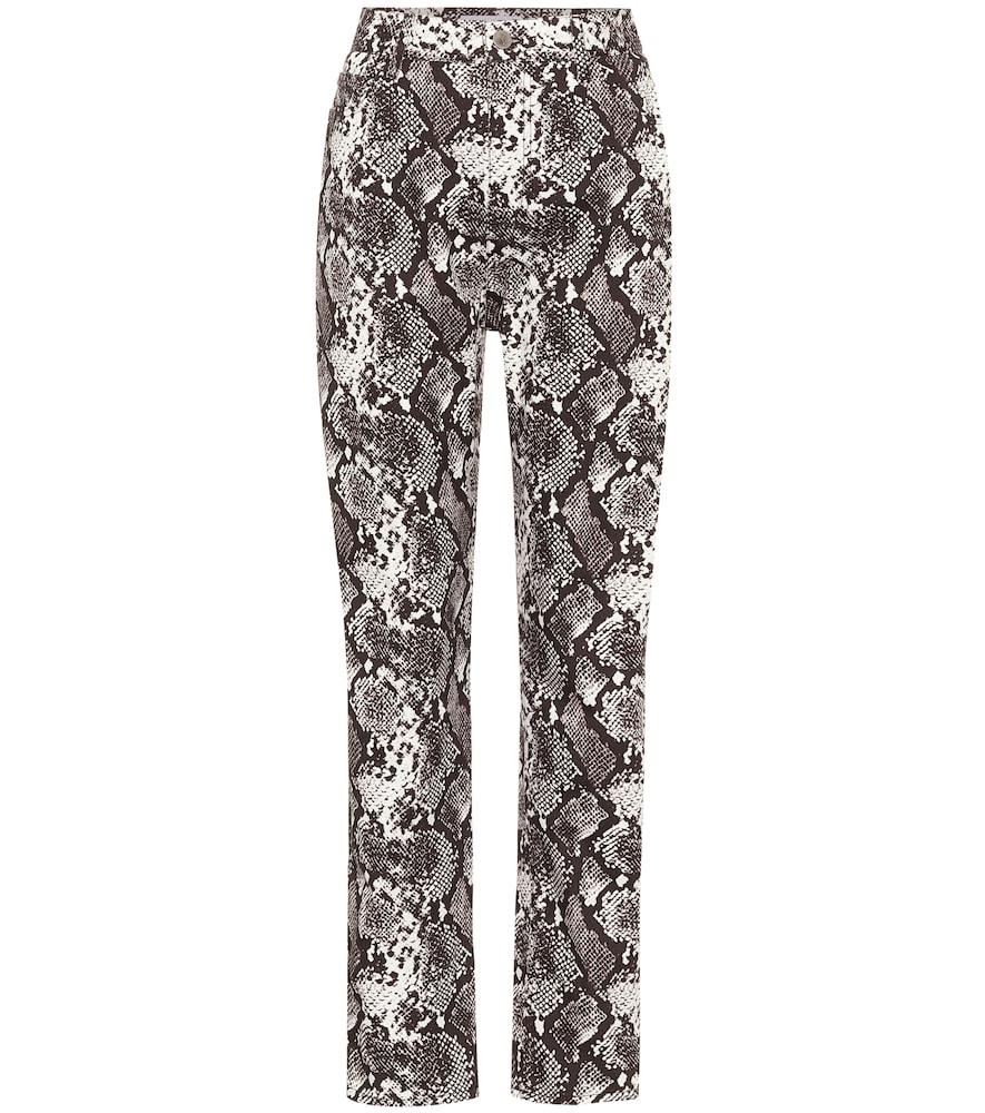 Pantalon droit Dua imprimé à taille haute en coton