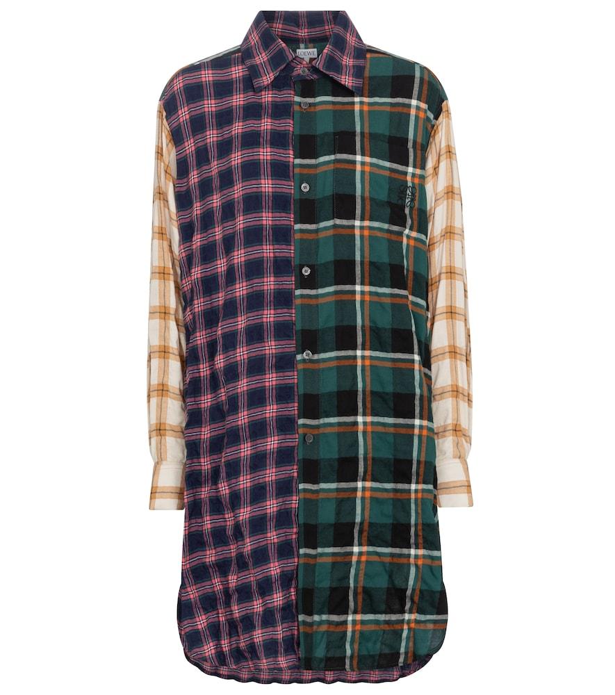 Chemise longue en coton mélangé à carreaux