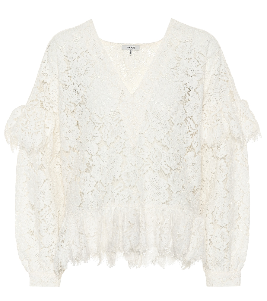 Jerome Flared Lace Blouse, White