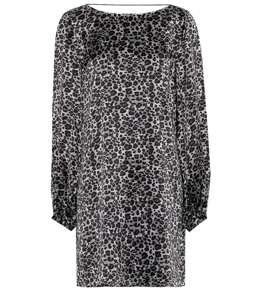 Equipment Zipporah Leopard Print Dress In Grey