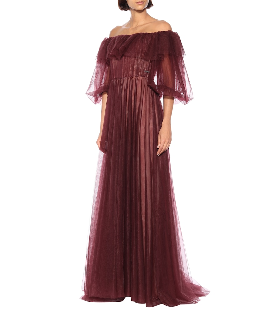 Off-the-shoulder tulle gown by Valentino