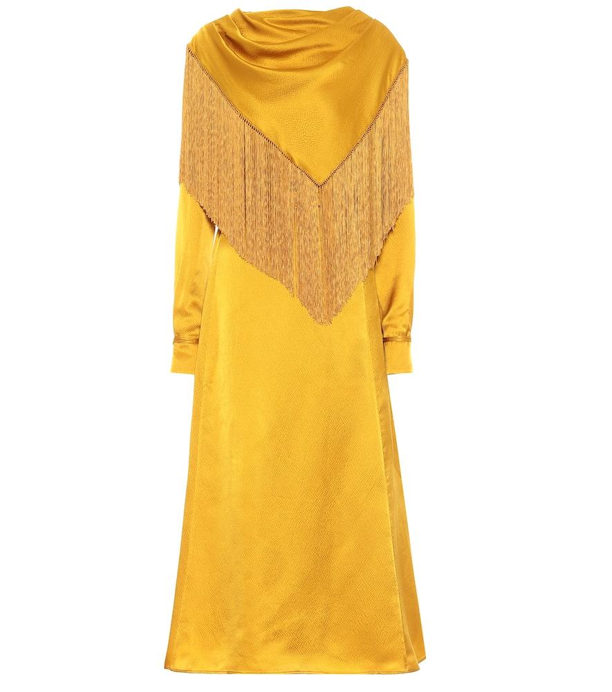 Rouge silk satin midi dress by Gabriela Hearst