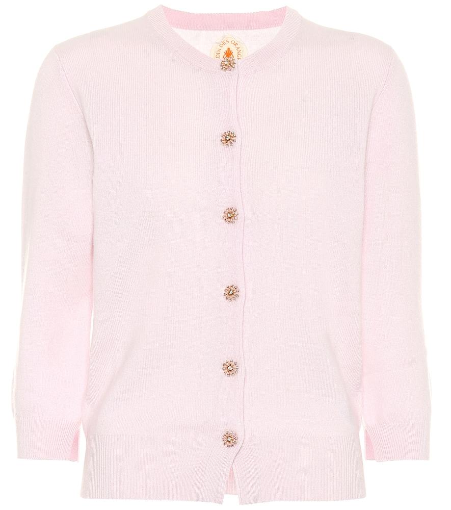 JARDIN DES ORANGERS Embellished Cashmere Cardigan in Pink