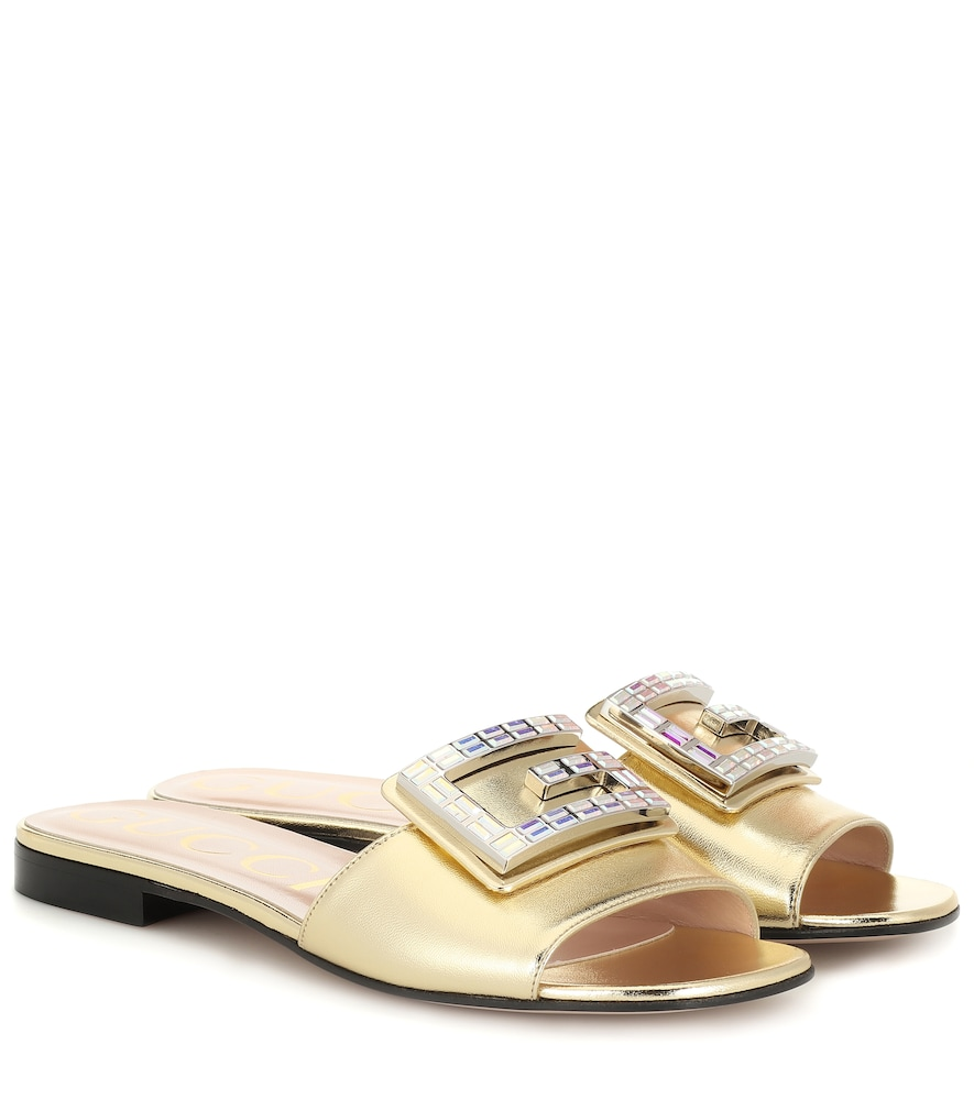 Gucci Embellished Metallic Leather Sandals In Gold