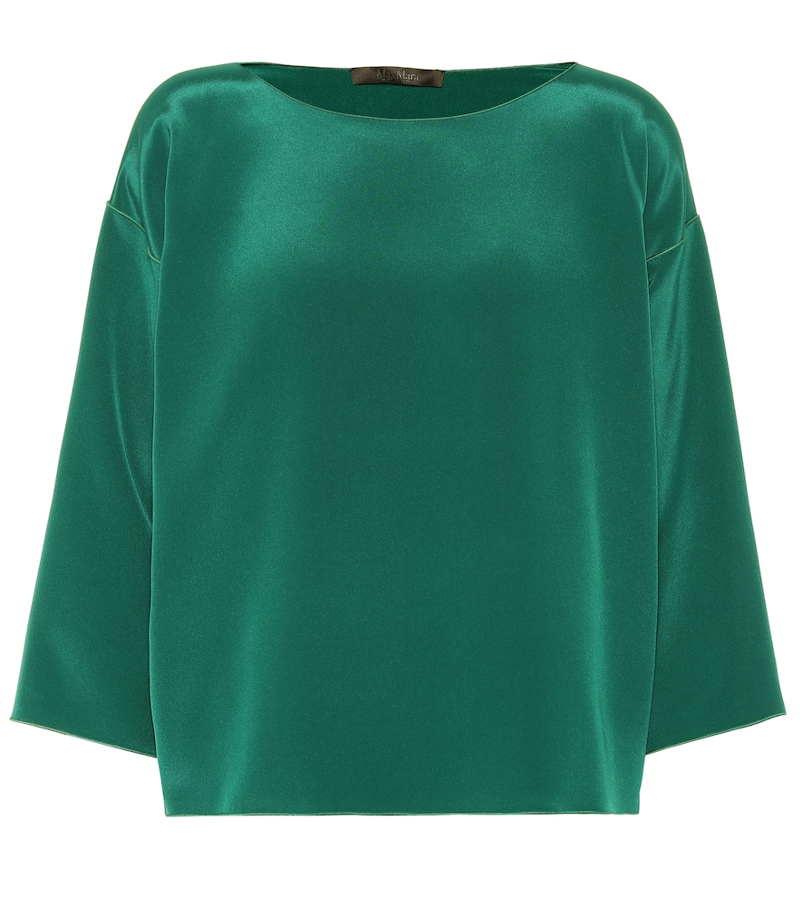 Locri Silk Blouse in Green