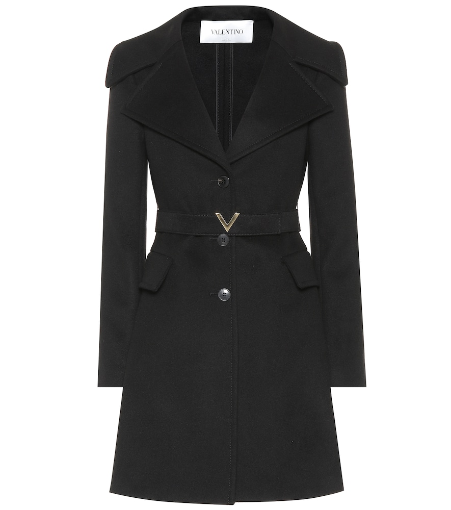 Valentino Logo-Buckle Wool And Cashmere-Blend Coat In Black