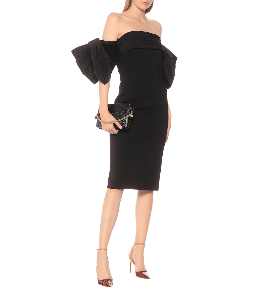 Taffeta-trimmed knit midi dress by Givenchy