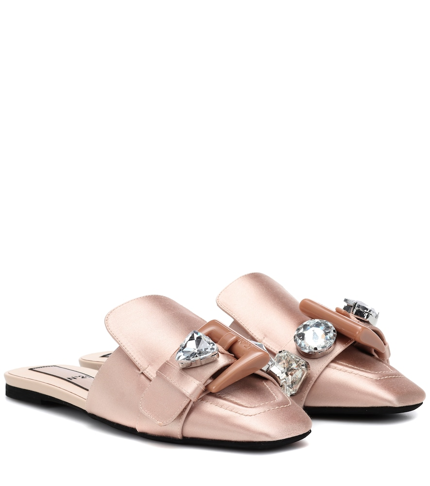 EMBELLISHED SATIN SLIPPERS
