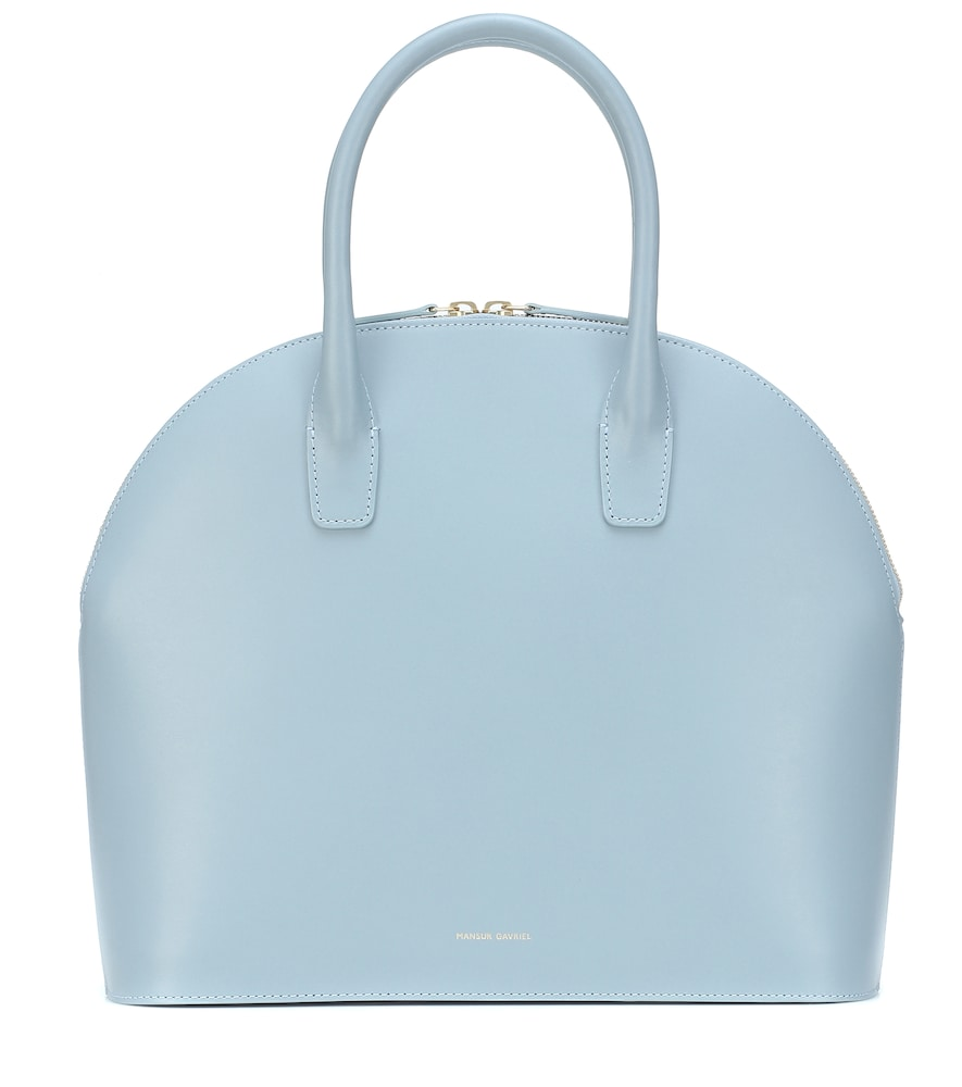 Top Handle Rounded Leather Bag - Blue