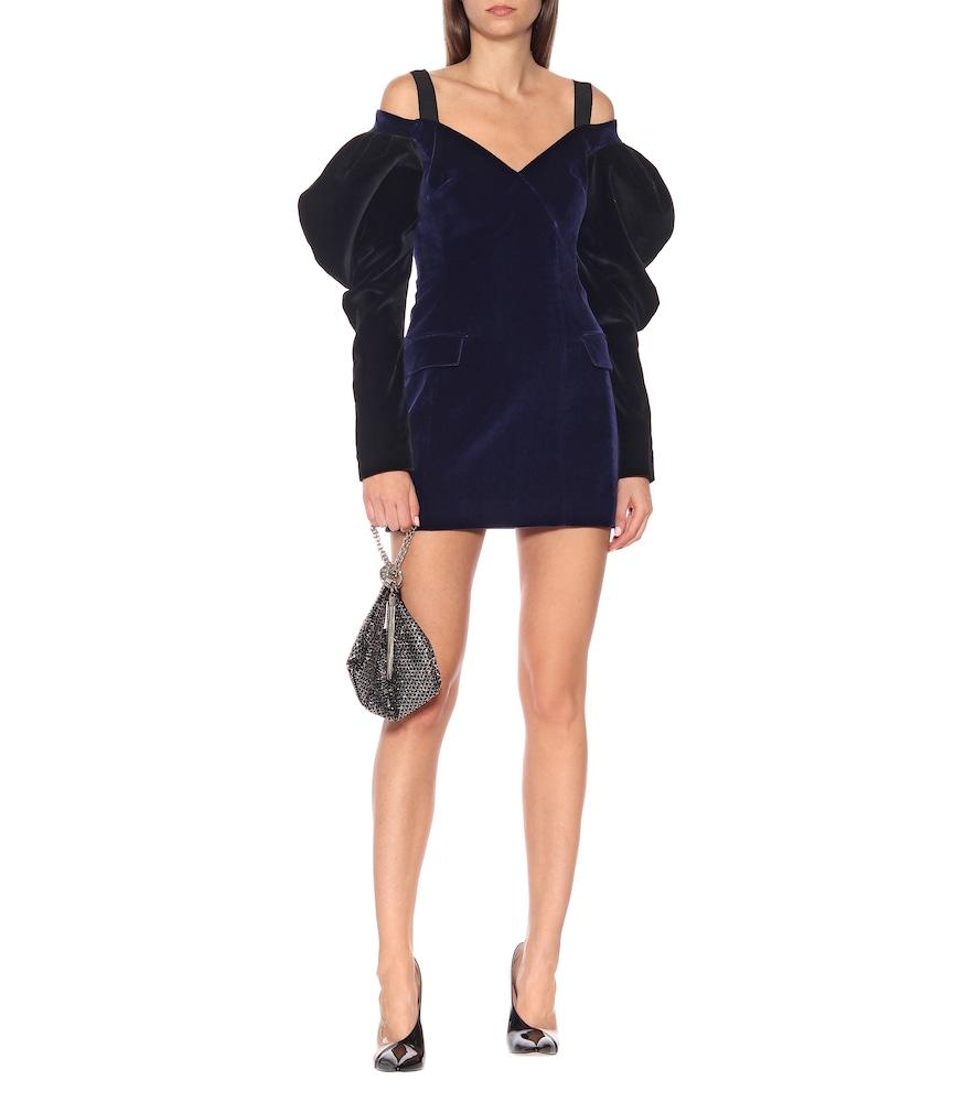 Velvet puff-sleeve minidress by David Koma