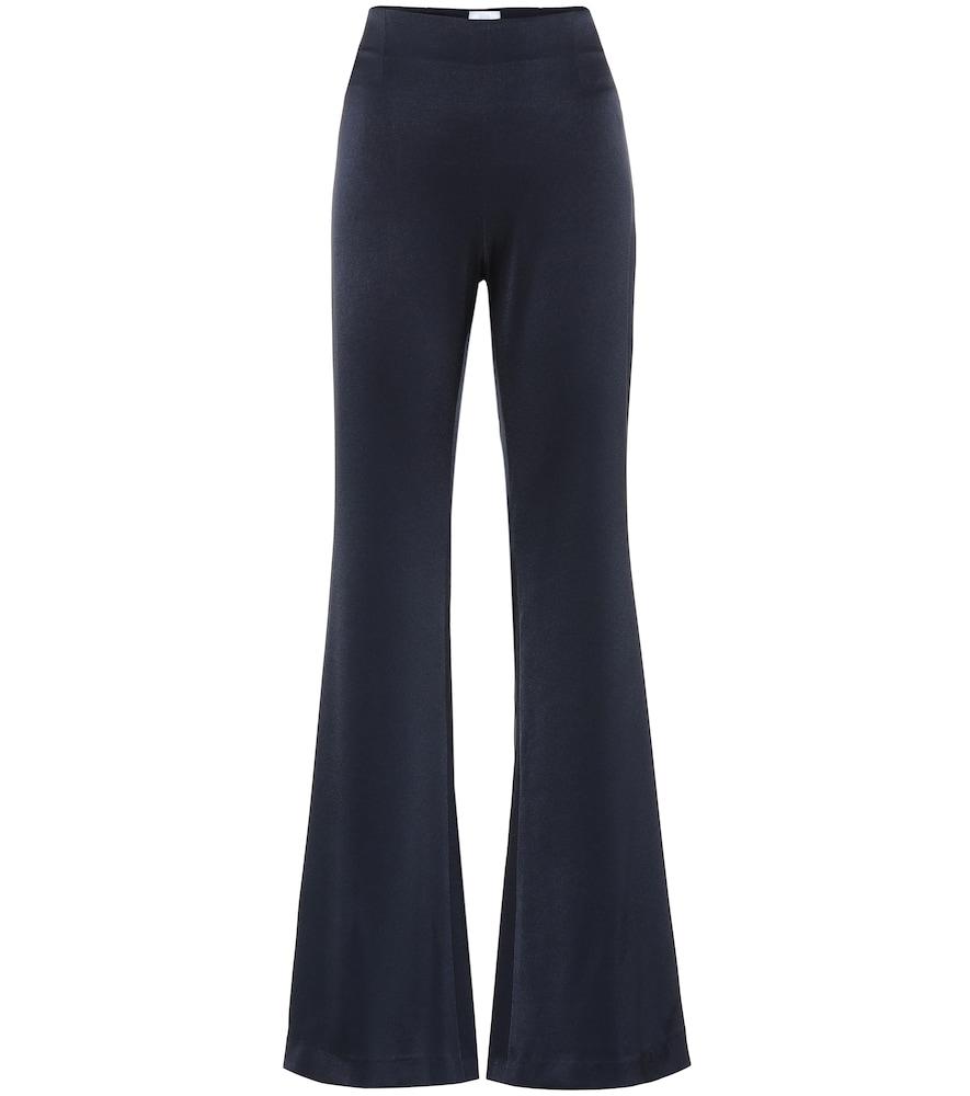Pantalon évasé à taille haute en crêpe