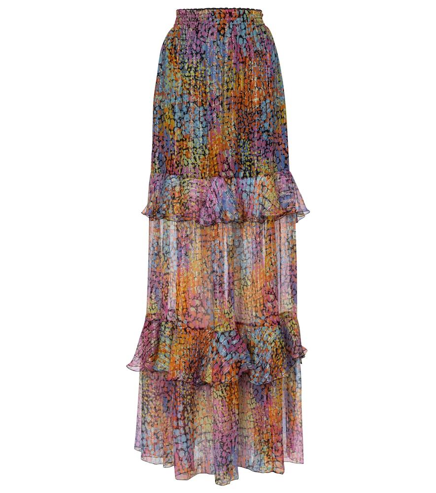 Printed metallic silk maxi skirt