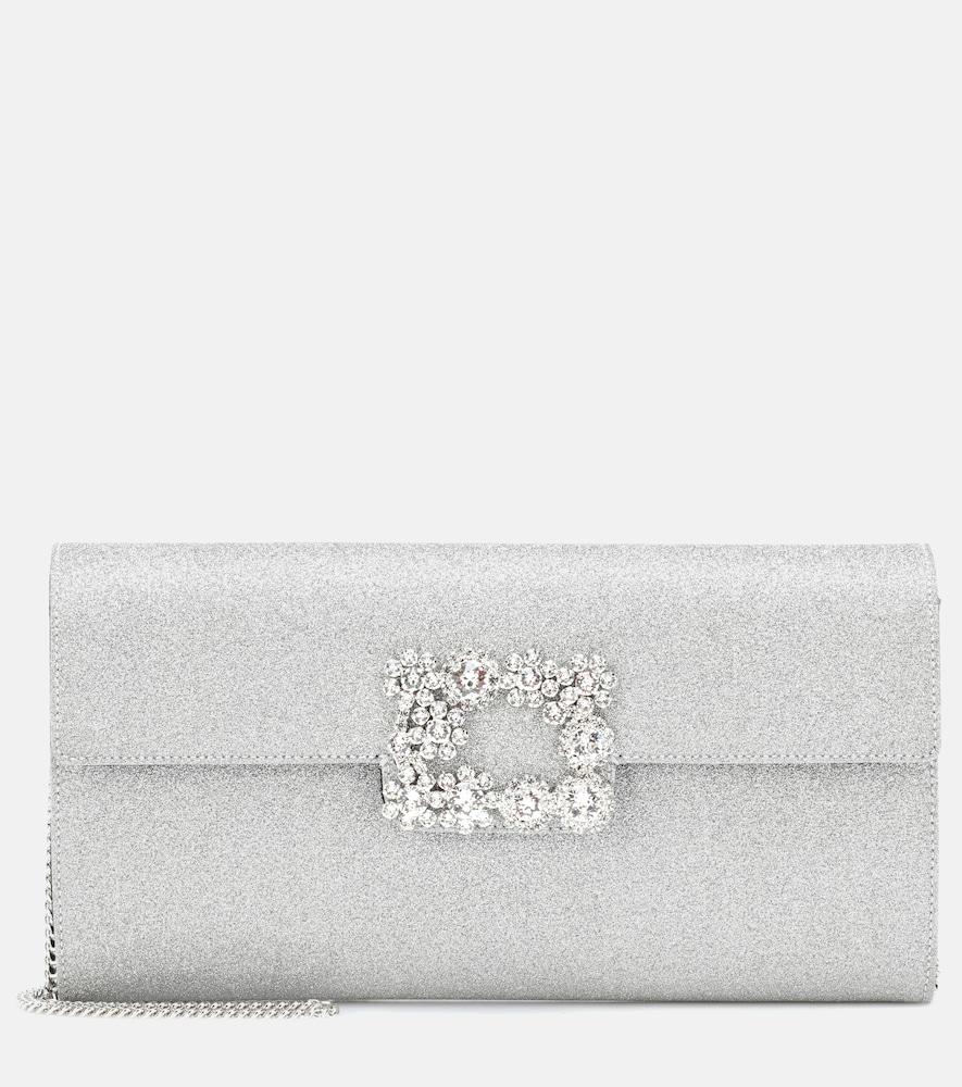 Roger Vivier Floral Crystal-Buckle Glitter Fabric Envelope Clutch Bag bUCCn1