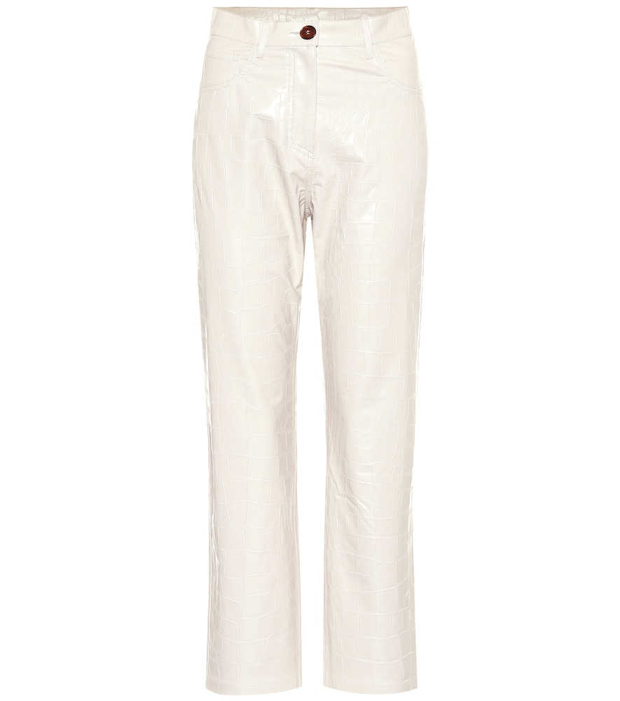 Ivy Faux Leather Straight Pants in White