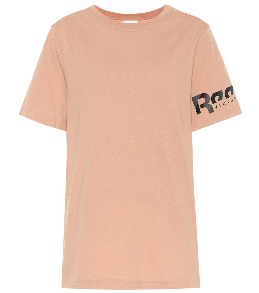 Reebok X Victoria Beckham Logo Cotton-Jersey T-Shirt In Pink