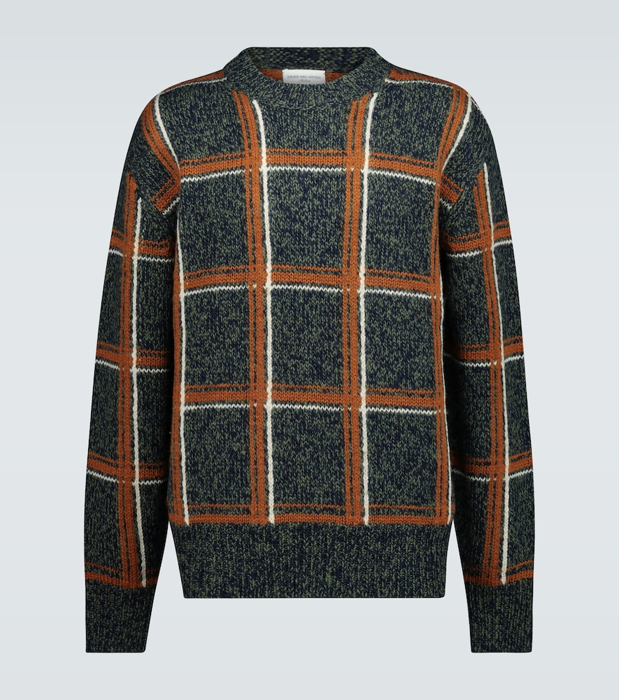 Pull à carreaux en laine mérinos - Dries Van Noten - Modalova