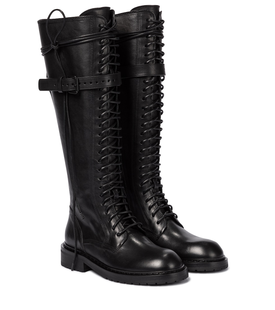 Ann Demeulemeester Leathers LACE-UP LEATHER KNEE-HIGH BOOTS