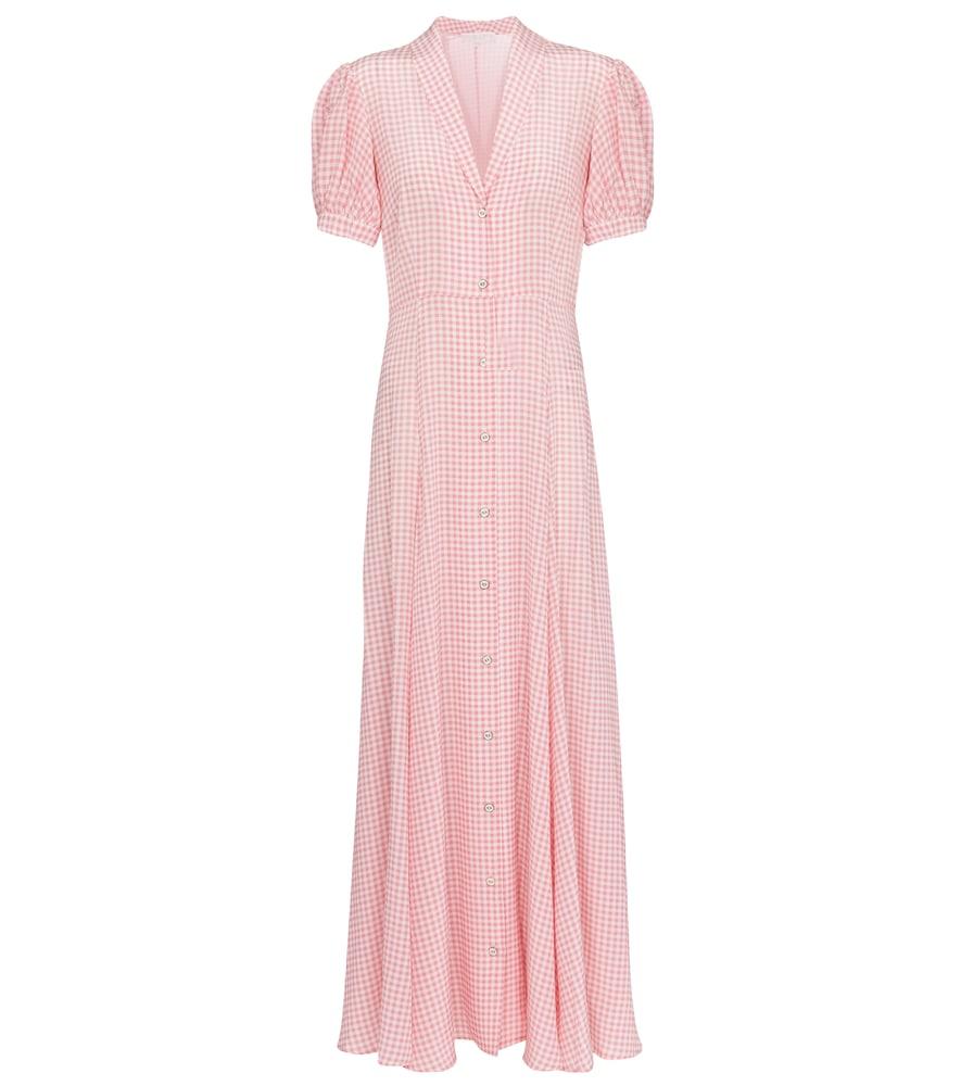 Bel gingham silk maxi dress