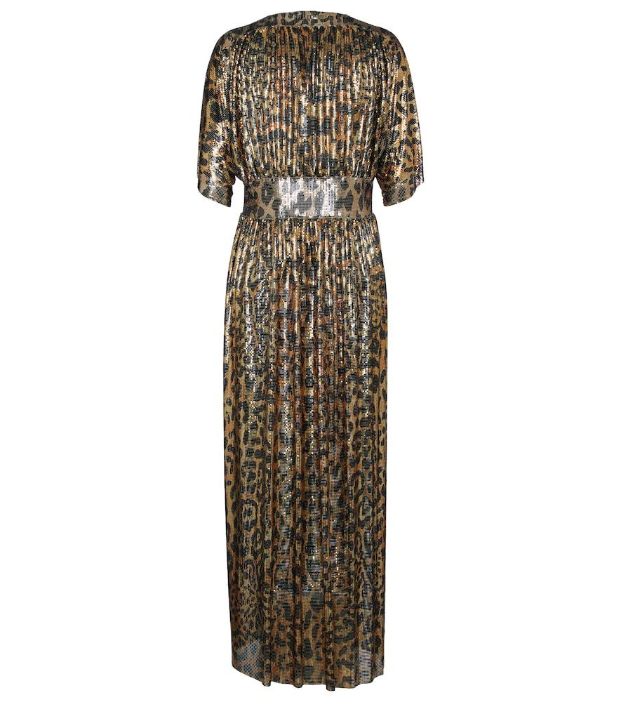 PACO RABANNE Gowns LEOPARD-PRINT CHAINMAIL MIDI DRESS