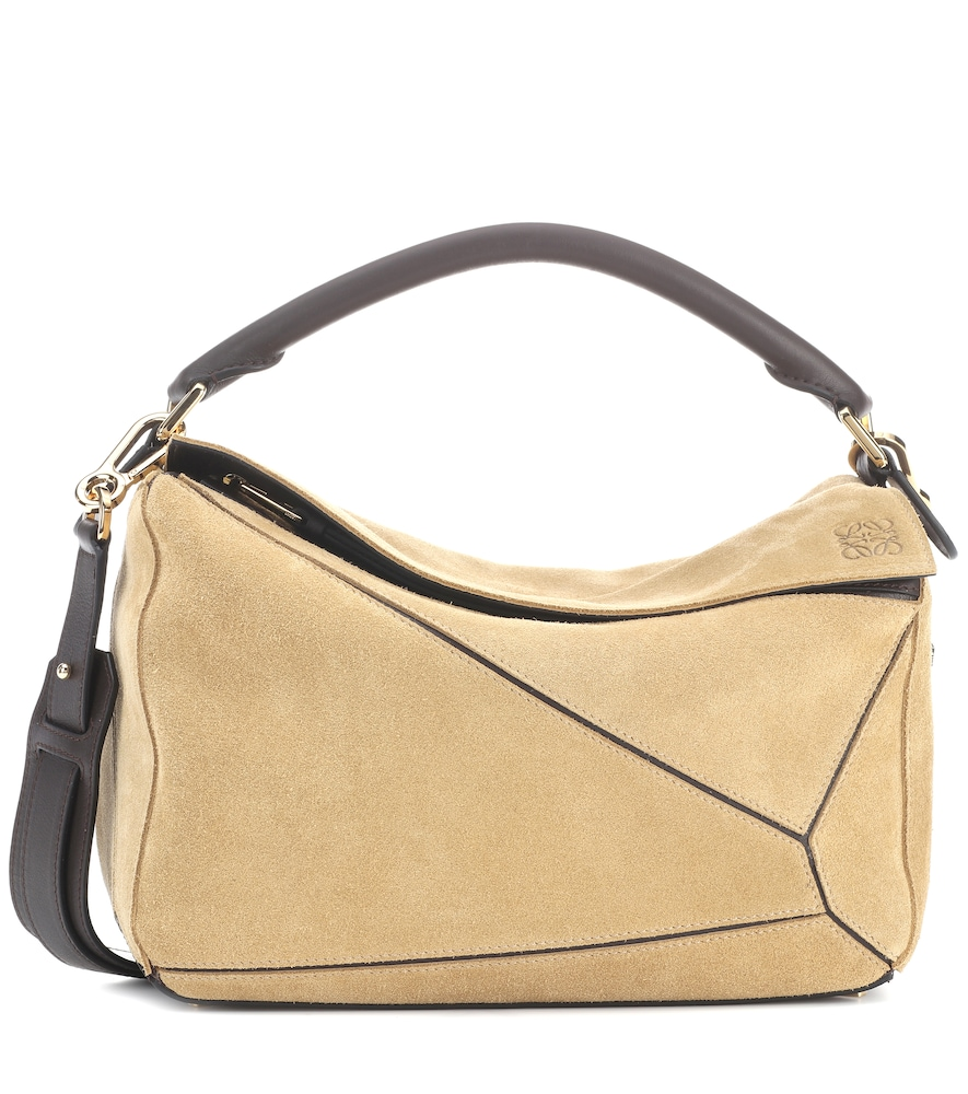 PUZZLE SUEDE SHOULDER BAG