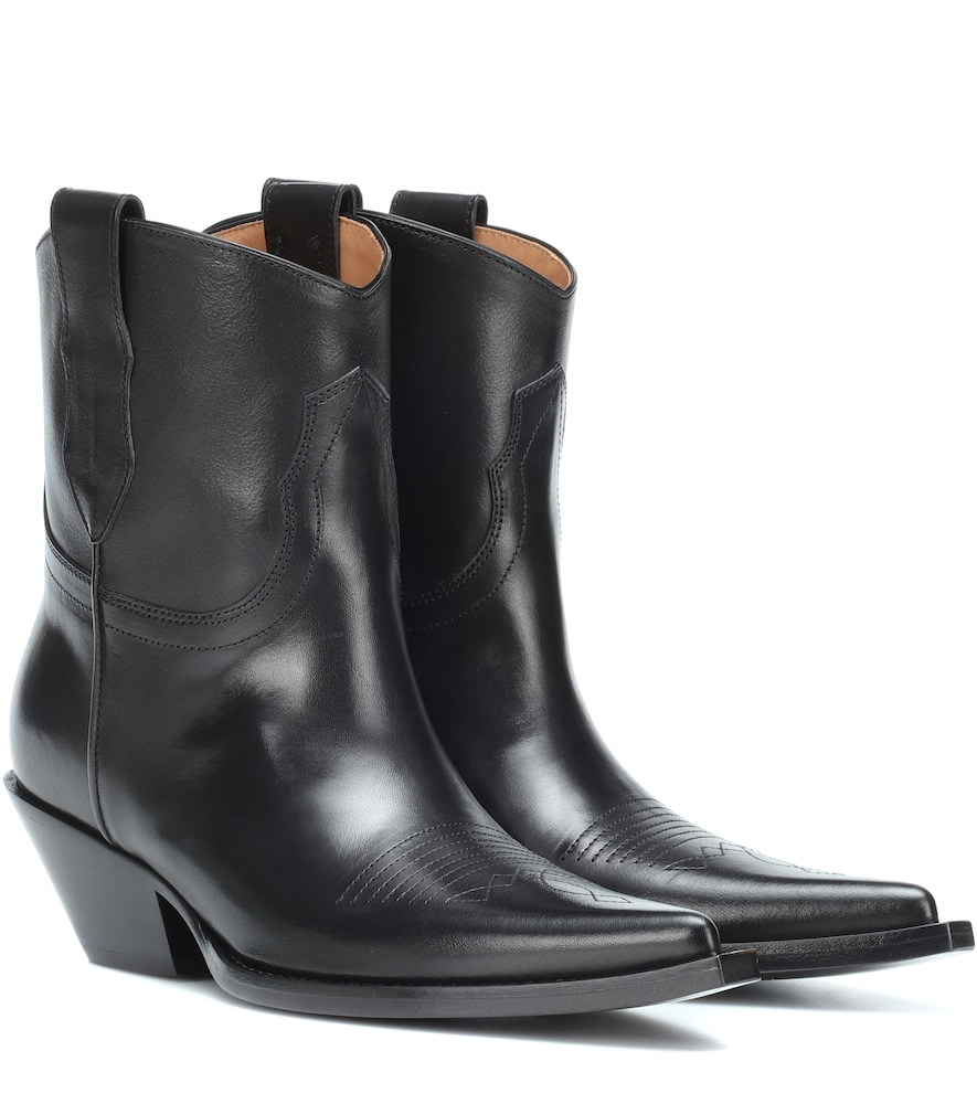 Leather Western Ankle Boots - Black Size 7.5