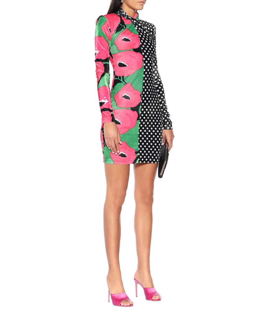 Polka-dot and floral velvet minidress by Richard Quinn
