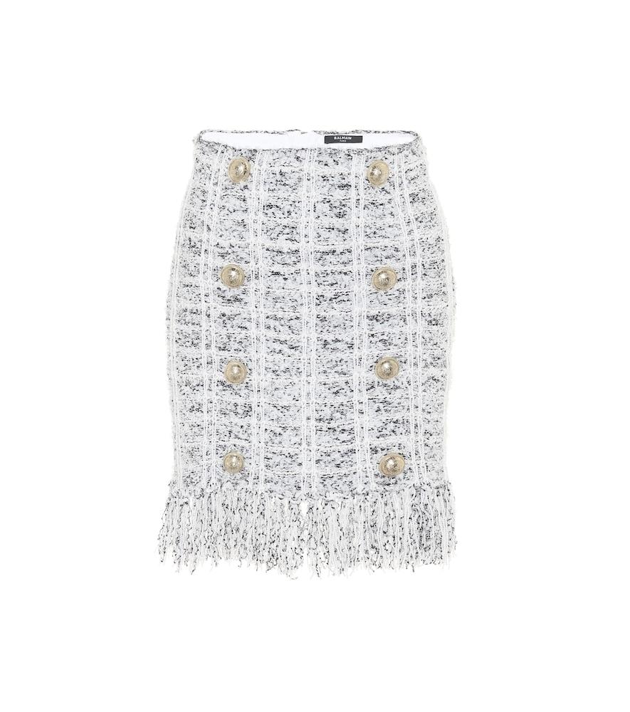 Mini-jupe en tweed de laine mélangée - Balmain - Modalova
