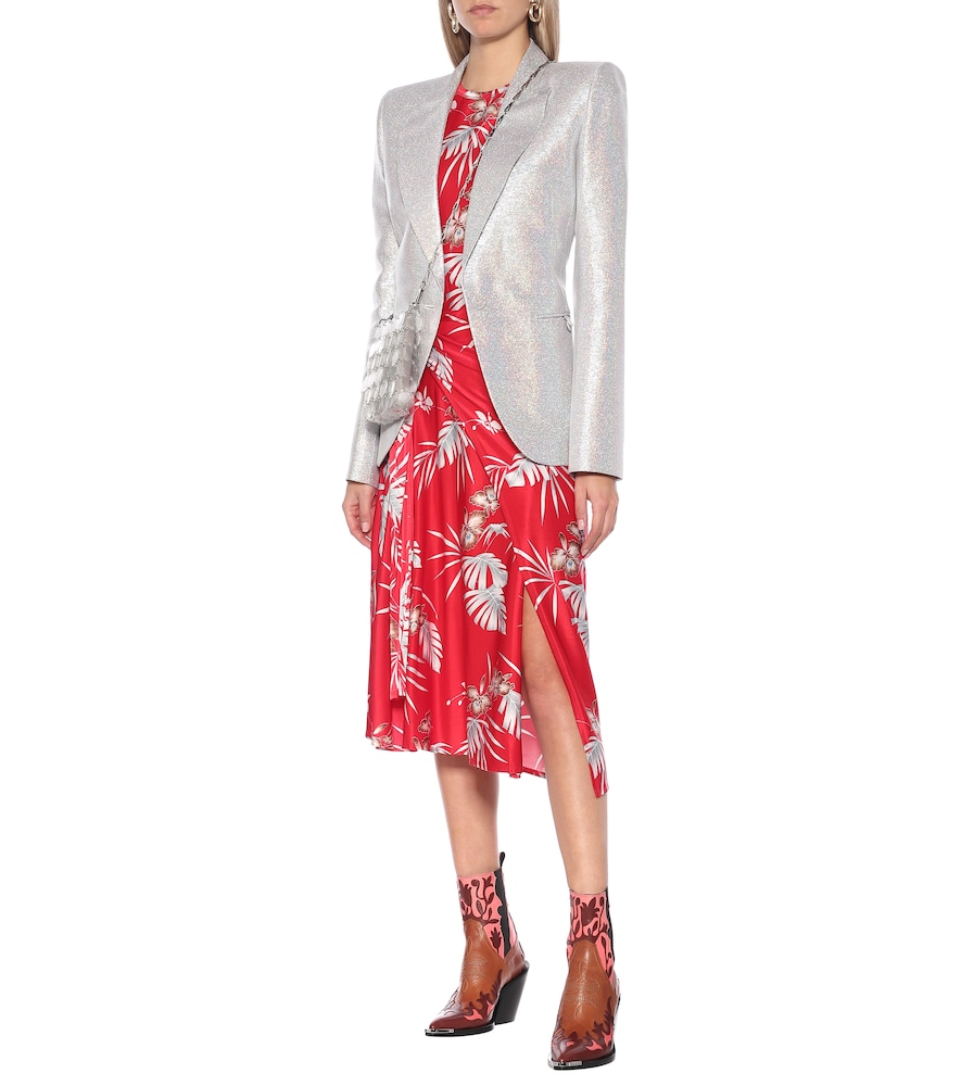Printed jersey midi wrap dress by Paco Rabanne