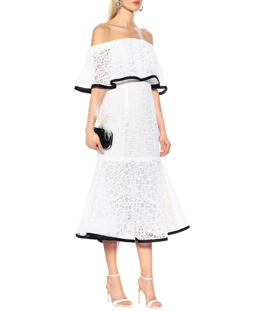 Off-the-shoulder lace gown by Carolina Herrera