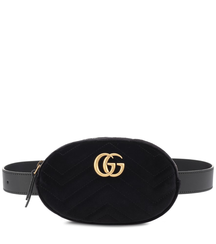 SMALL GG MARMONT 2.0 VELVET BELT BAG - BLACK