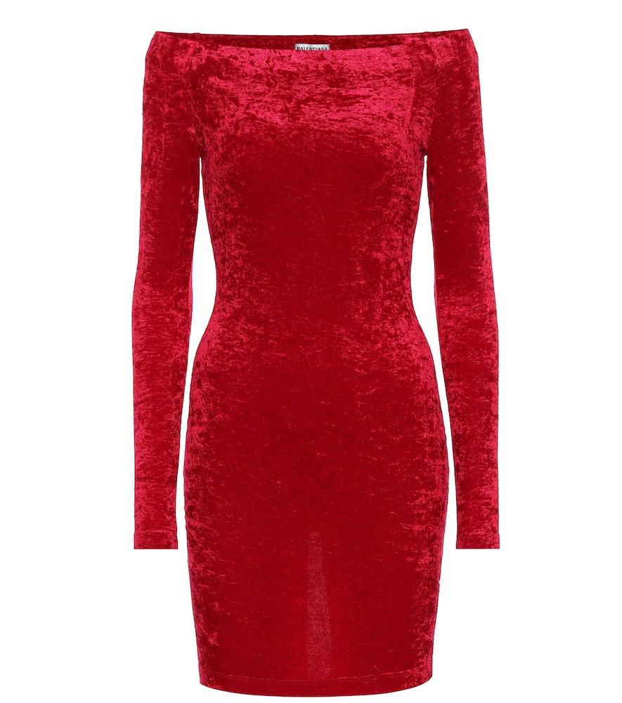 Velvet off-shoulder minidress by Balenciaga