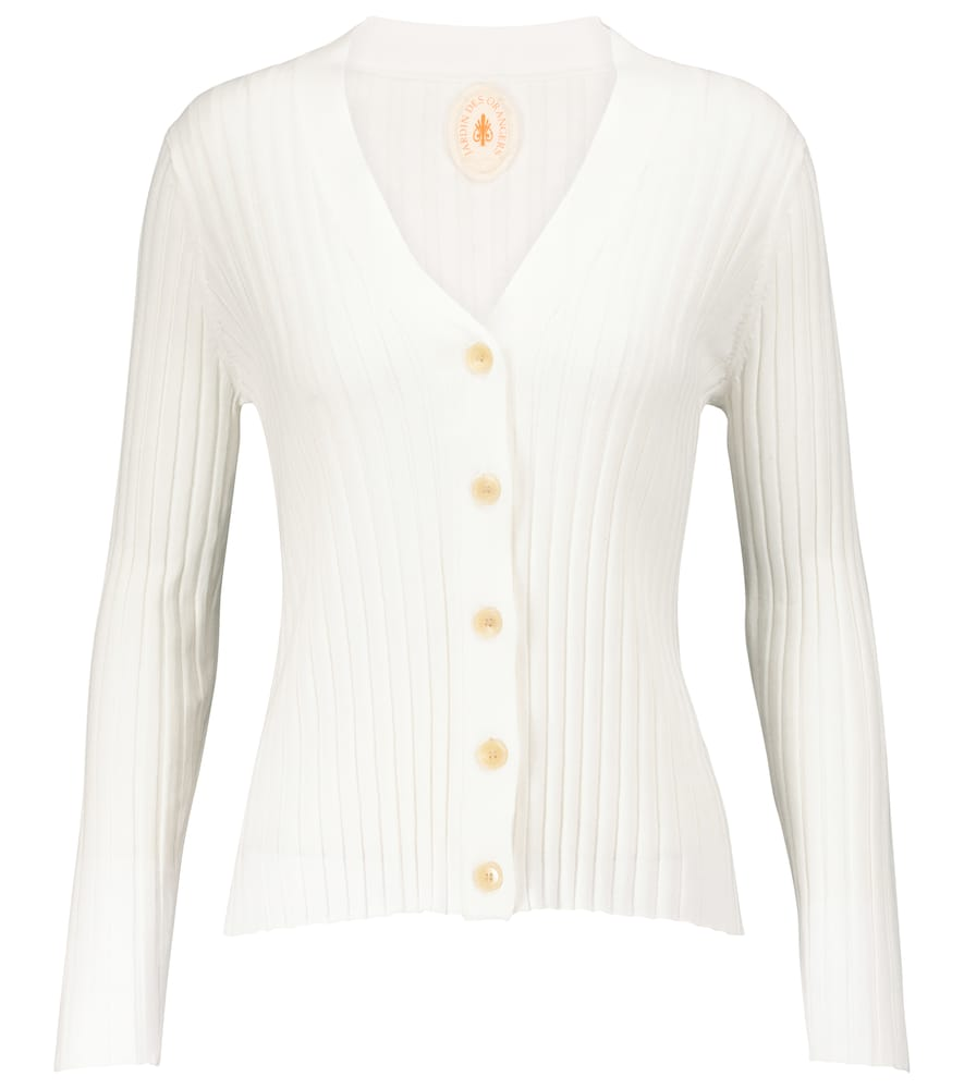 Ribbed-knit cotton and silk cardigan