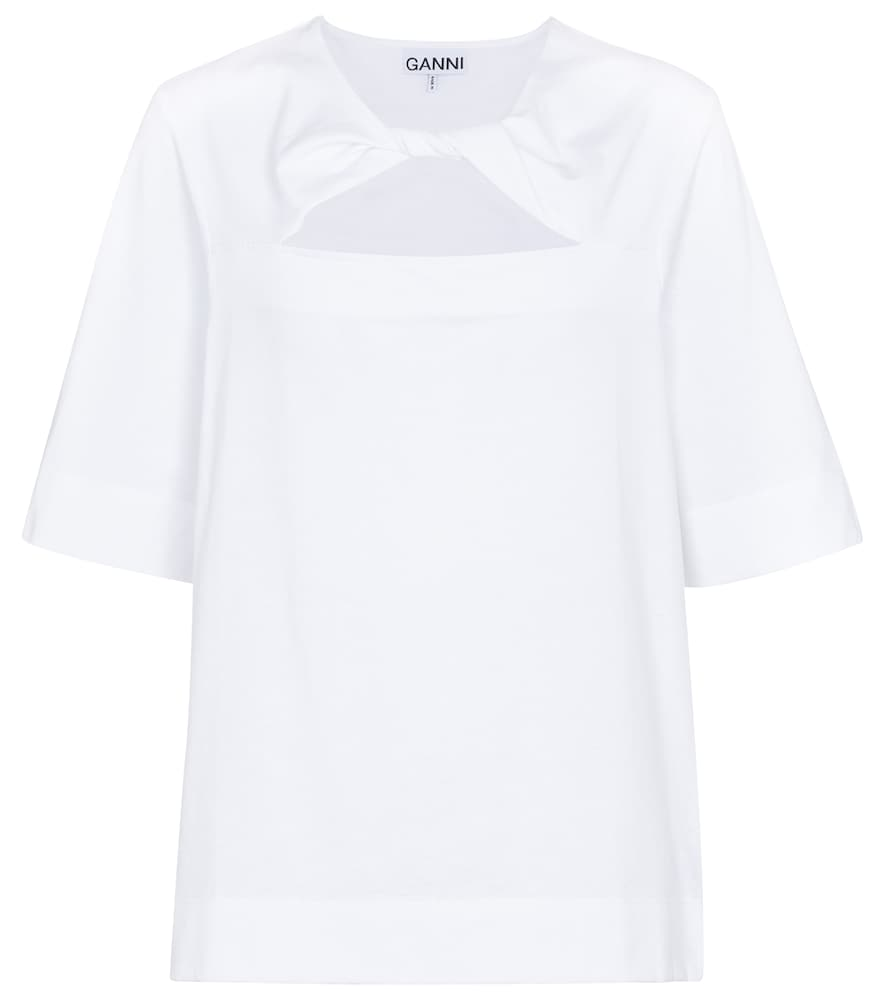 Ganni Cottons CUTOUT COTTON JERSEY T-SHIRT