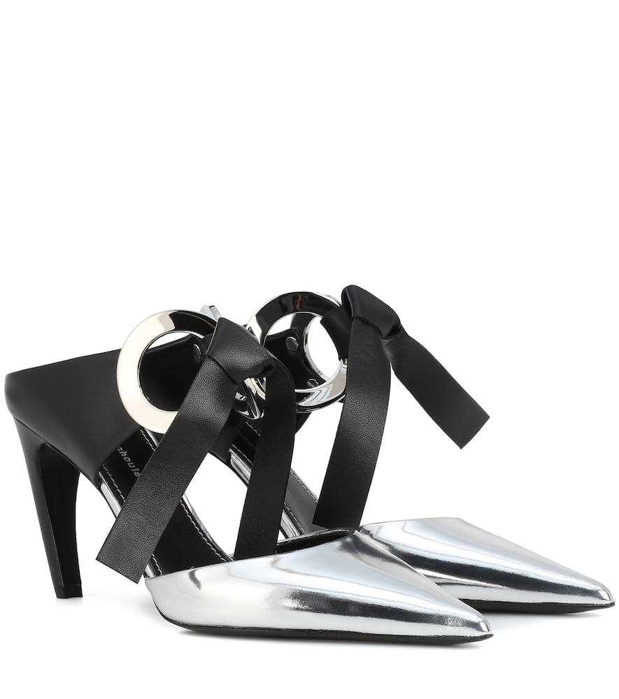 Plus Rings Knot Metallic Leather Mules in Silver
