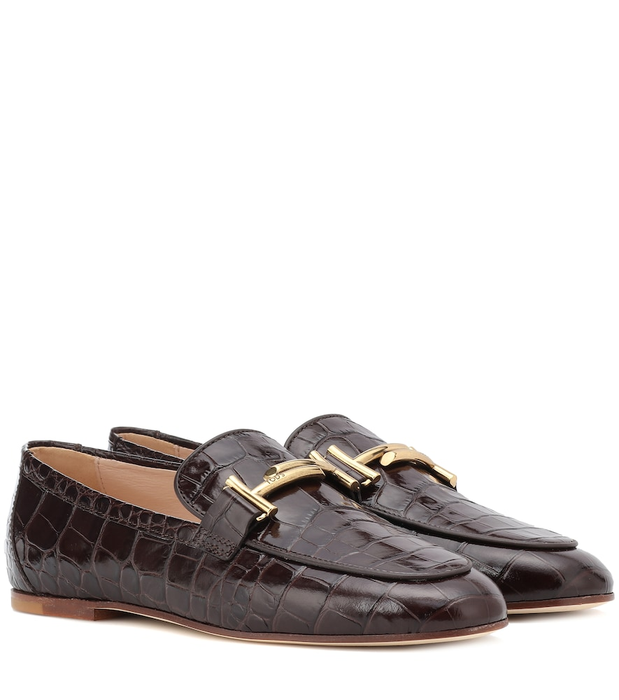 Tod's 10mm Double T Croc Embossed Loafers In Brown