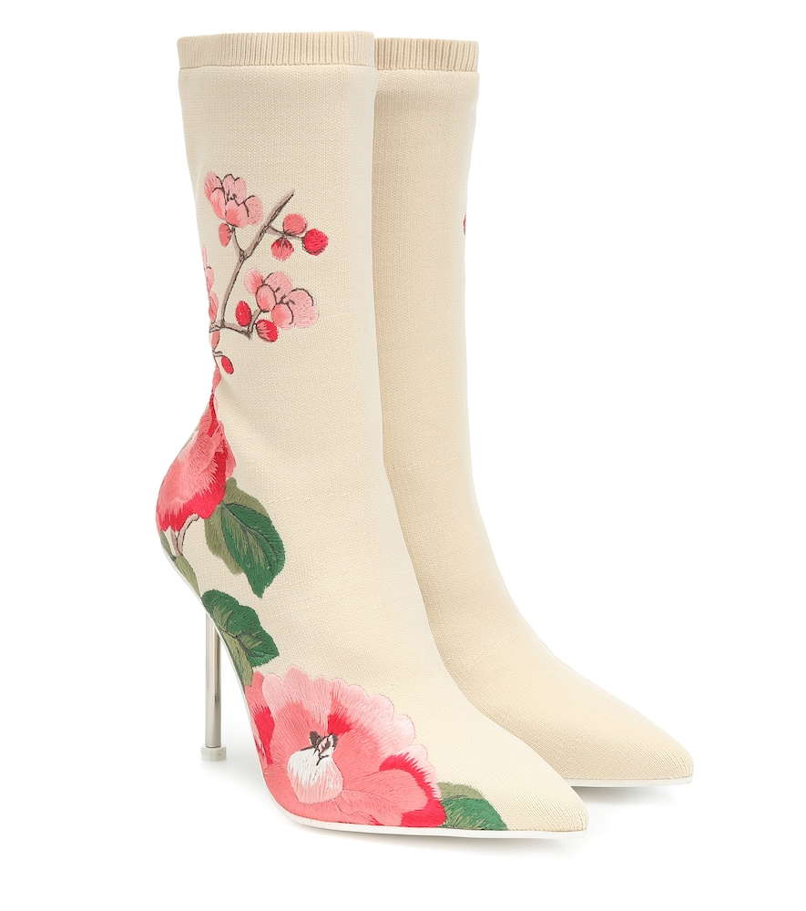 ALEXANDER MCQUEEN | Printed stretch-knit ankle boots | Goxip