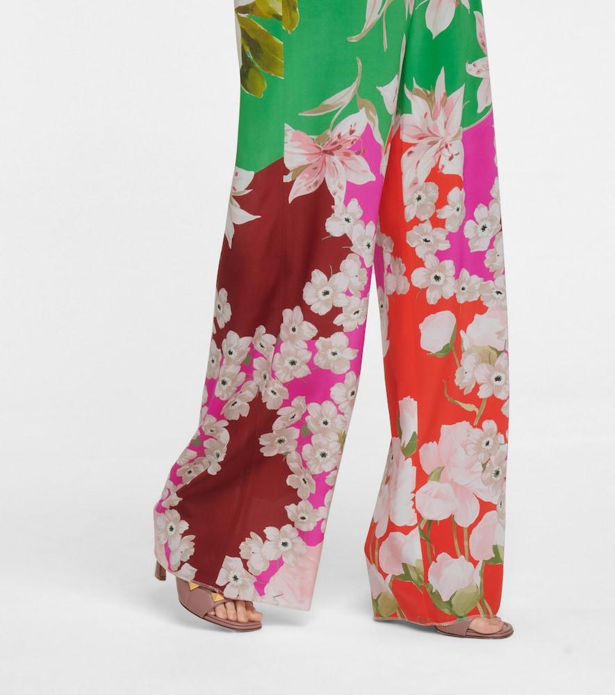 VALENTINO Silks FLORAL SILK WIDE-LEG PANTS