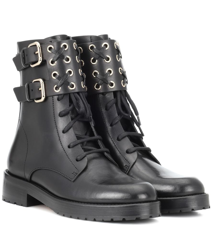 Red (V) Embellished Leather Ankle Boots in Black