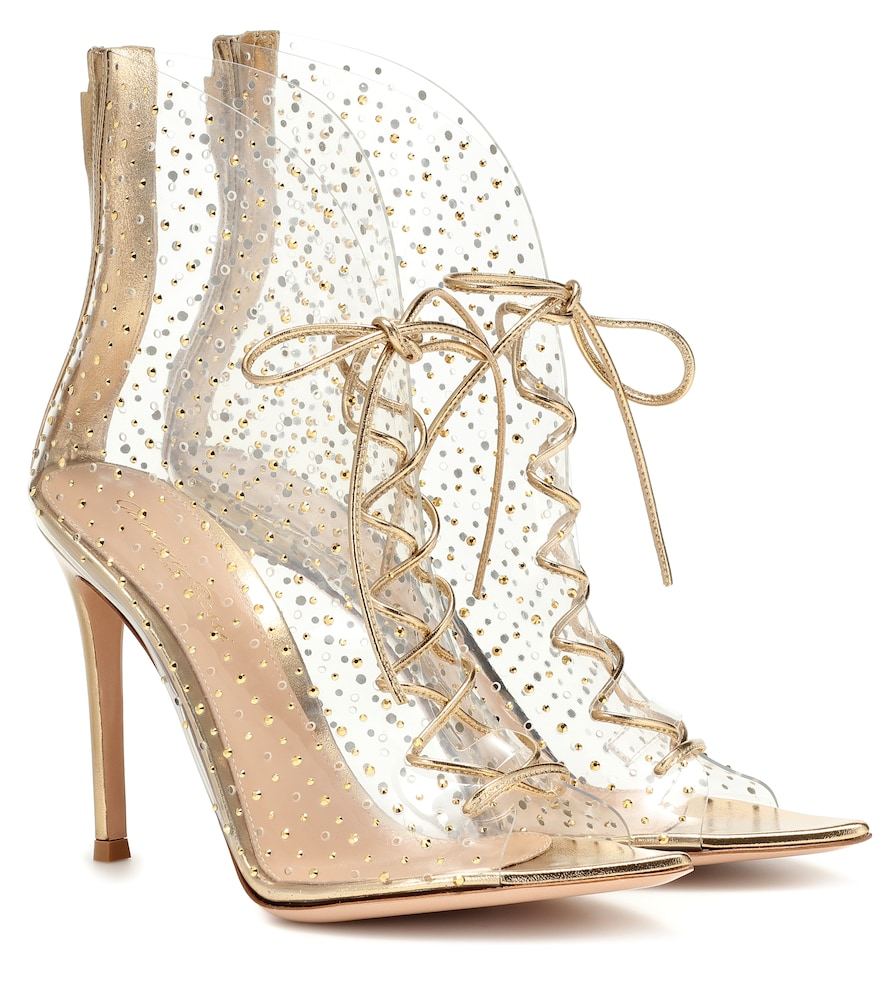 Gianvito Rossi Helmut 105 Crystal-studded Pvc Ankle Boots In Gold