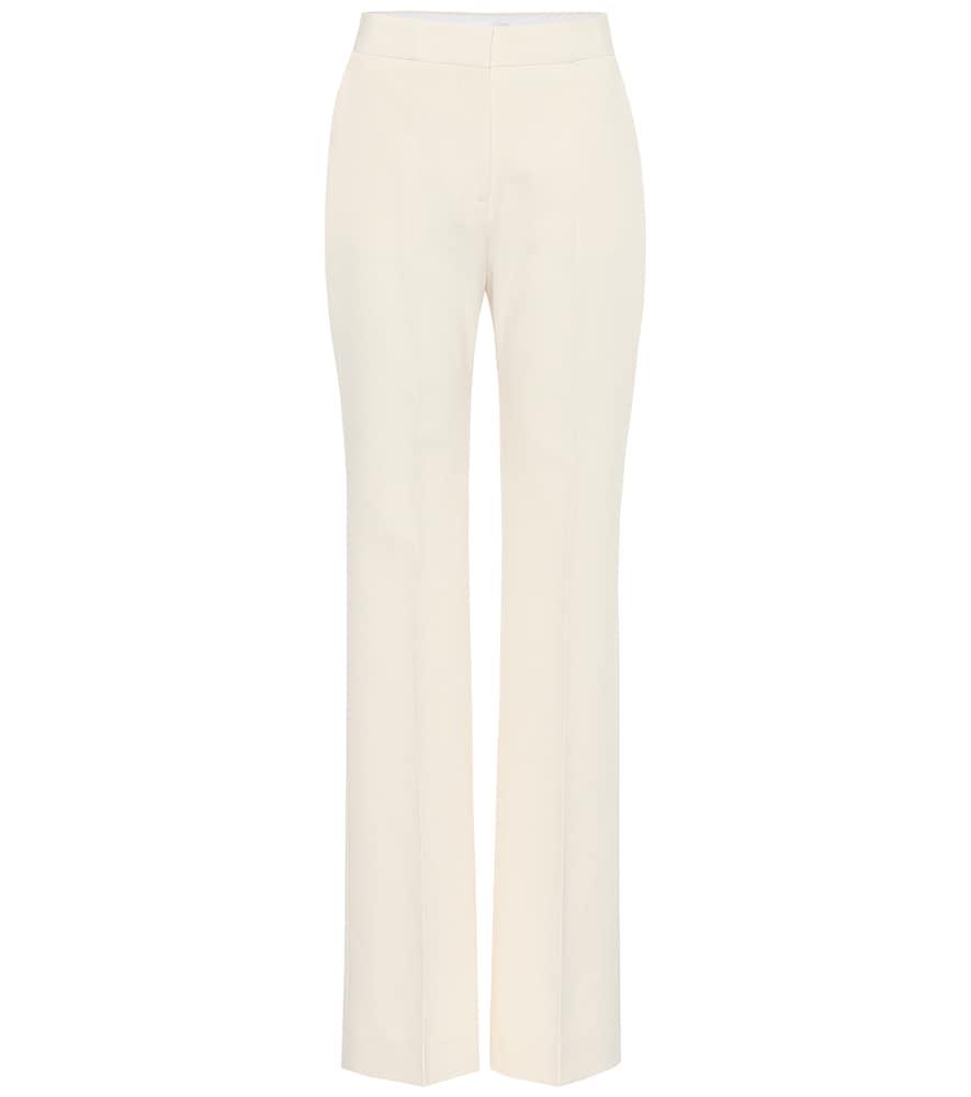 Pantalon droit à taille haute en crêpe - Victoria Victoria Beckham - Modalova