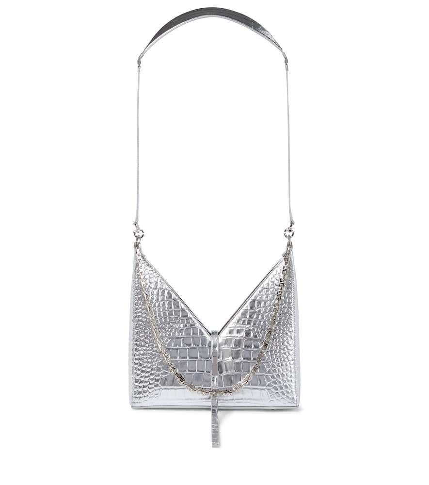 Givenchy Leathers CUT OUT CROC-EFFECT LEATHER SHOULDER BAG